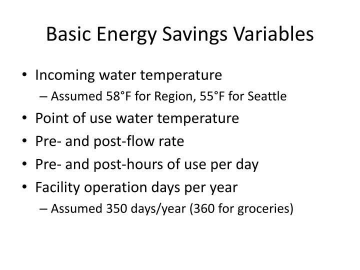 Basic Energy Savings Variables
