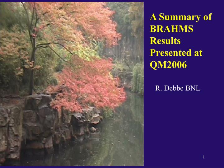 A Summary of BRAHMS Results Presented at QM2006