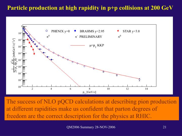 Particle production at high rapidity in p+p collisions at 200 GeV