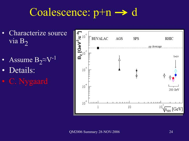 Coalescence: p+n       d