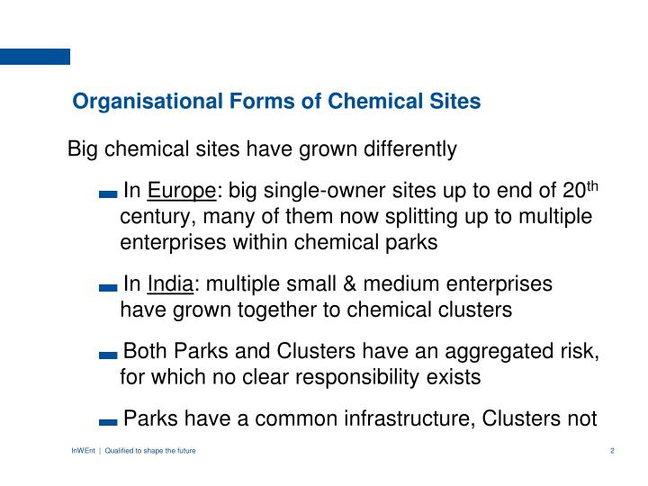 Organisational forms of chemical sites