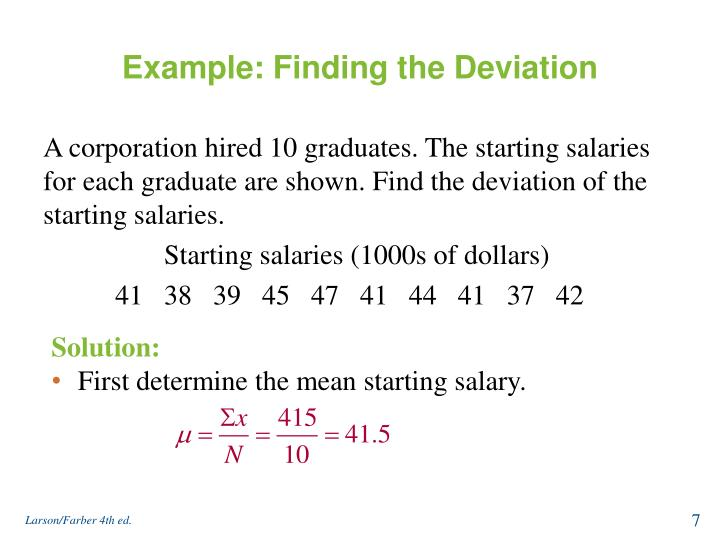 Example: Finding the Deviation
