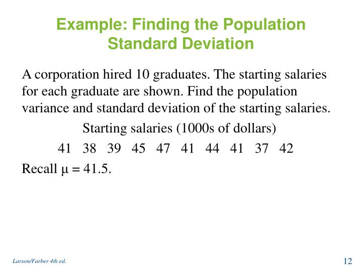Example: Finding the Population Standard Deviation