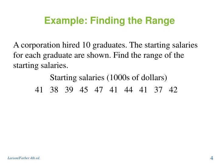 Example: Finding the Range
