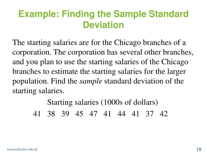 Example: Finding the Sample Standard Deviation