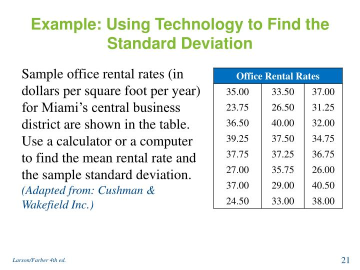 Example: Using Technology to Find the Standard Deviation