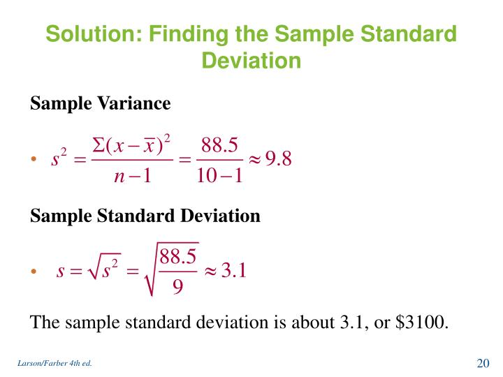 Solution: Finding the Sample Standard Deviation