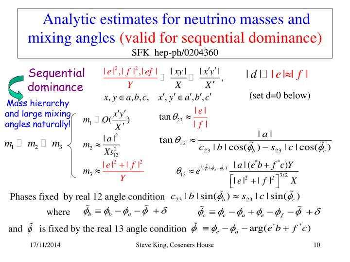 Analytic estimates for neutrino masses and mixing angles