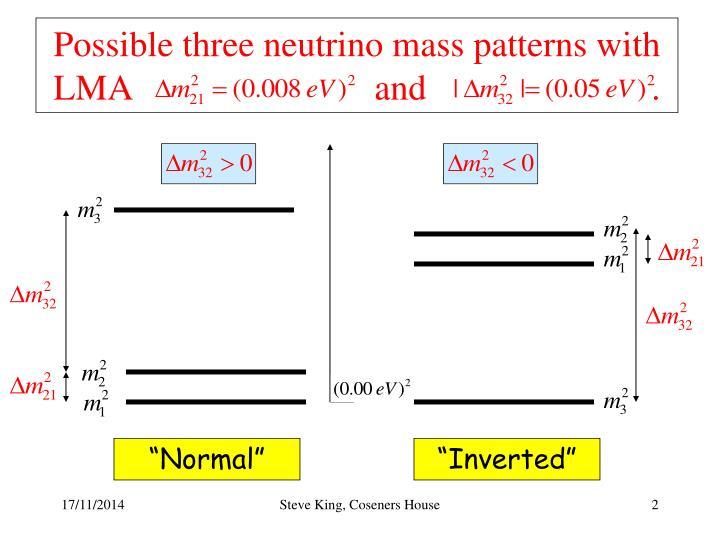 Possible three neutrino mass patterns with LMA                           and                         .