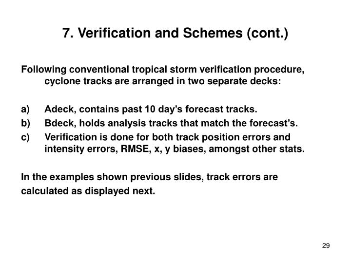 7. Verification and Schemes (cont.)