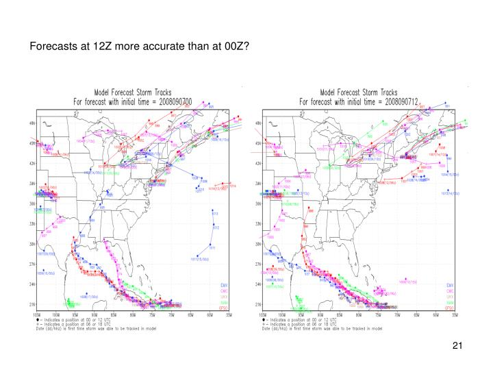 Forecasts at 12Z more accurate than at 00Z?