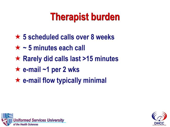 Therapist burden