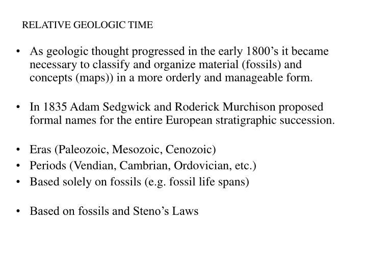 RELATIVE GEOLOGIC TIME