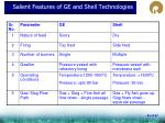 salient features of ge and shell technologies