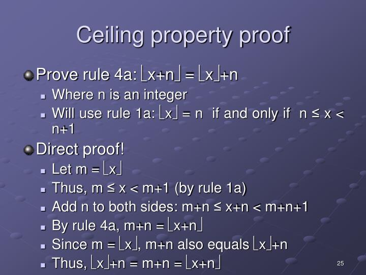 Ceiling property proof
