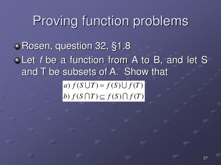 Proving function problems
