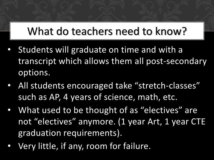 What do teachers need to know