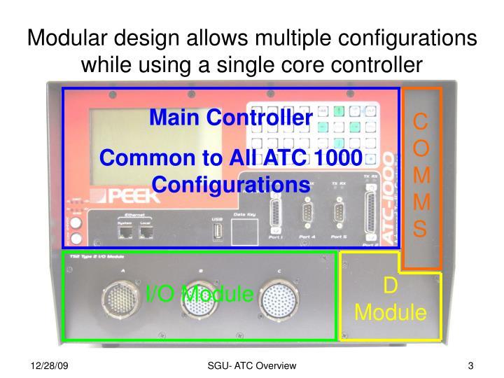 Modular design allows multiple configurations while using a single core controller