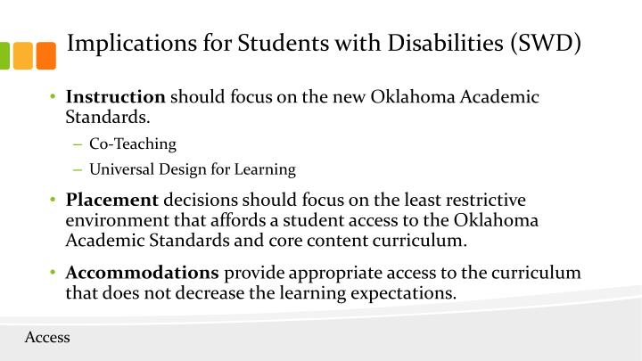 Implications for Students with Disabilities (SWD)