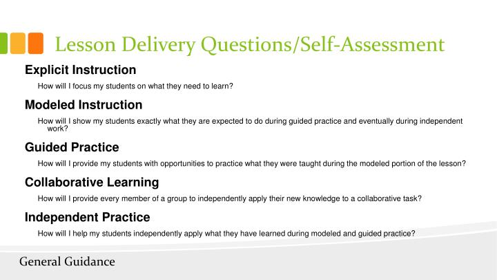 Lesson Delivery Questions/Self-Assessment