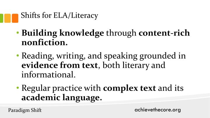 Shifts for ELA/Literacy