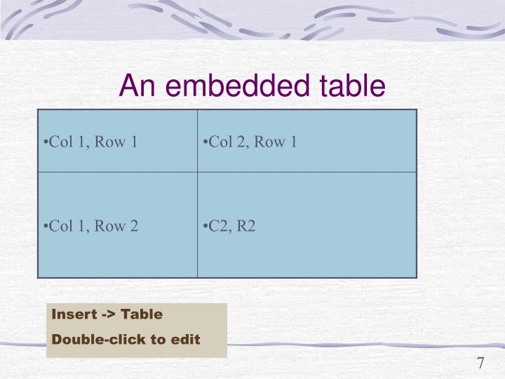 An embedded table