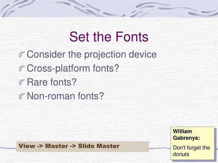 Set the Fonts