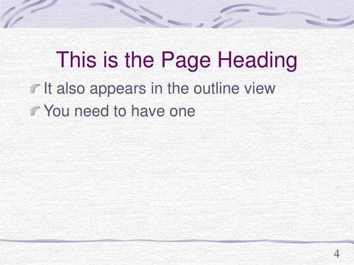 This is the Page Heading