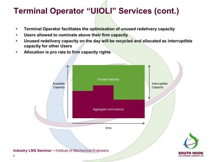 "Terminal Operator ""UIOLI"" Services (cont.)"