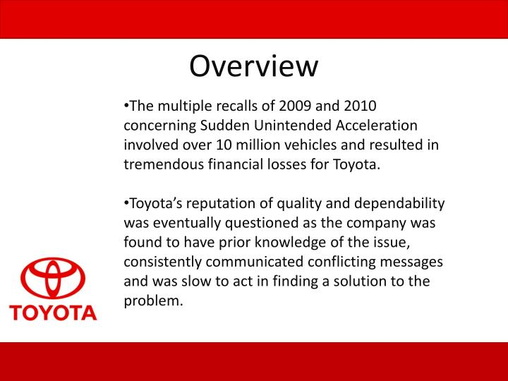 The multiple recalls of 2009 and 2010 concerning Sudden Unintended Acceleration involved over 10 million vehicles and resulted in tremendous financial losses for Toyota.