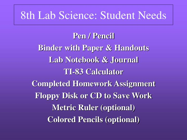 8th lab science student needs