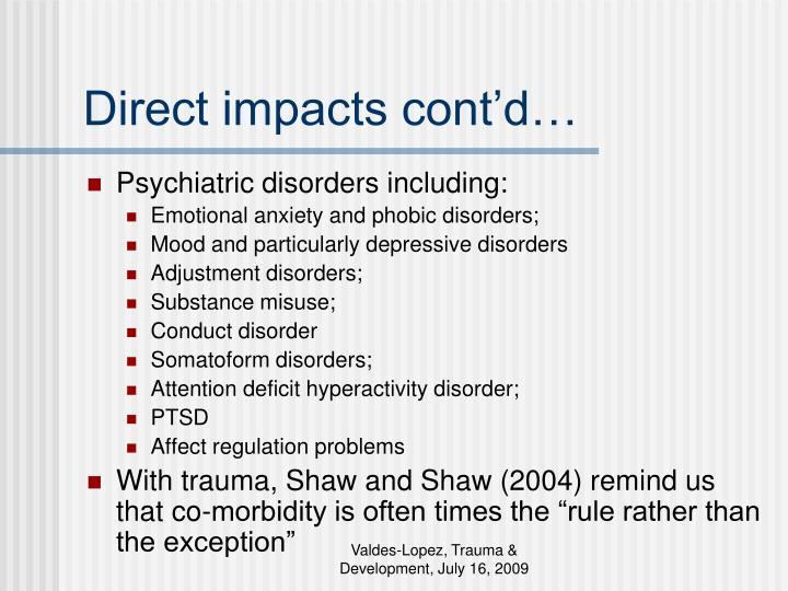 Direct impacts cont'd…