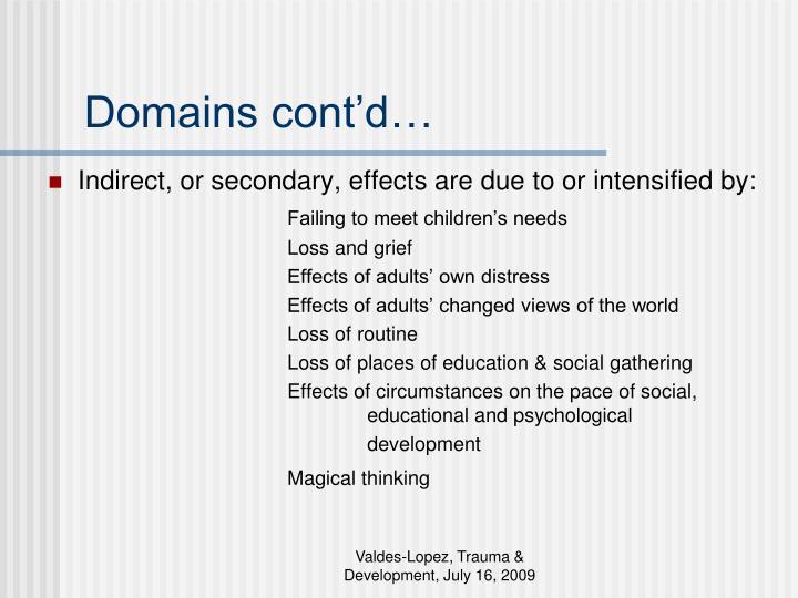 Domains cont'd…