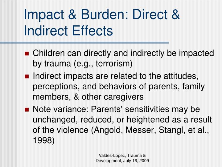 Impact & Burden: Direct & Indirect Effects