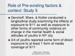 role of pre existing factors context study 5