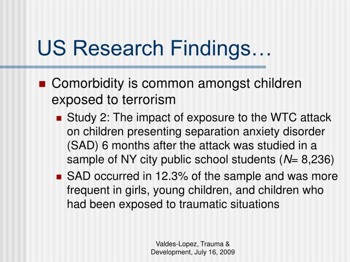US Research Findings…