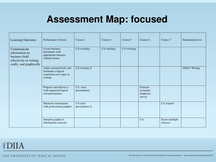 Assessment Map: focused