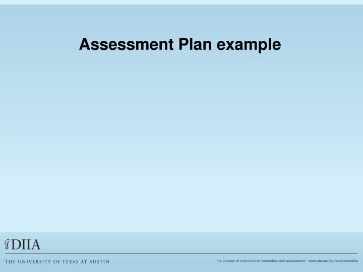 Assessment Plan example