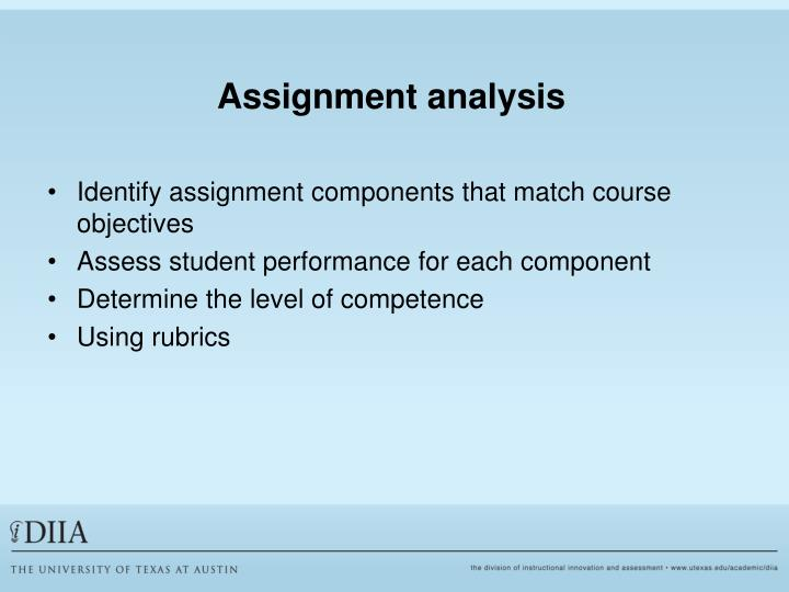 Assignment analysis