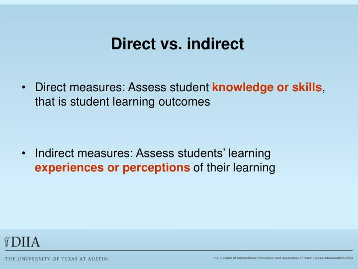 Direct vs. indirect