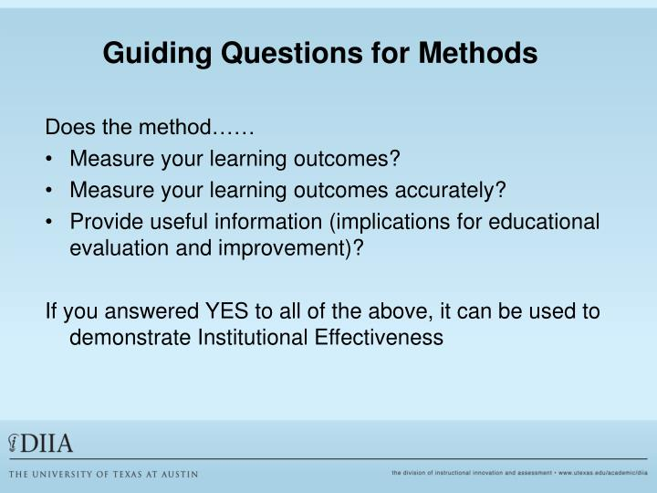 Guiding Questions for Methods