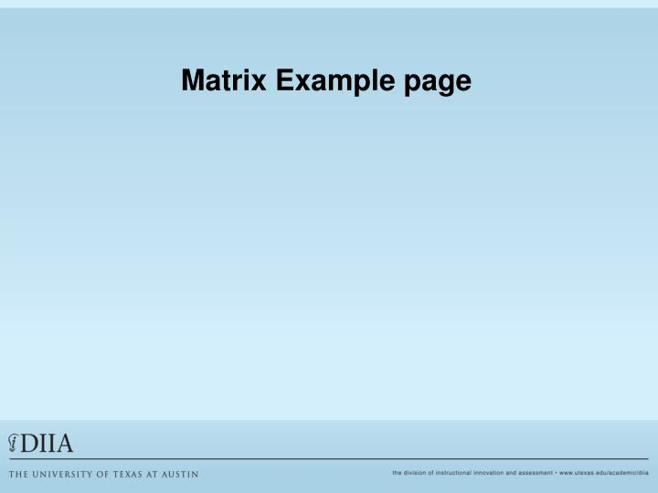 Matrix Example page