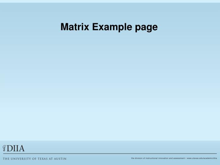 Matrix Example page