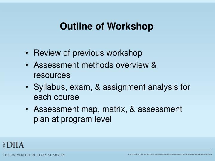 Outline of Workshop