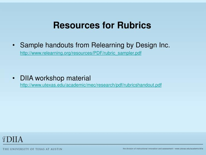 Resources for Rubrics