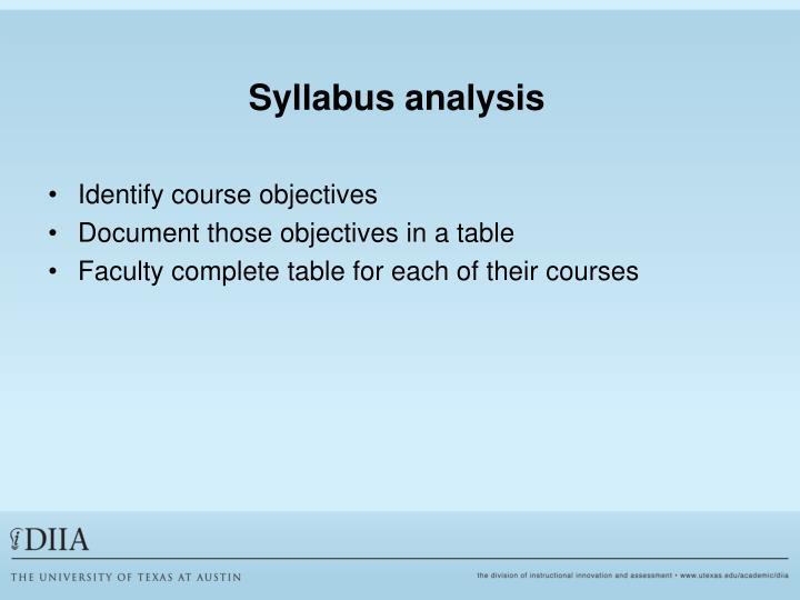 Syllabus analysis