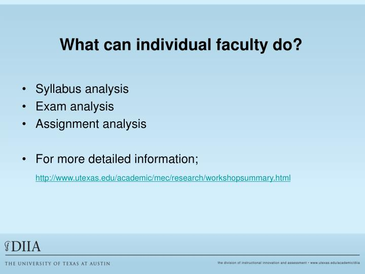 What can individual faculty do?