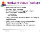 hardware status backup