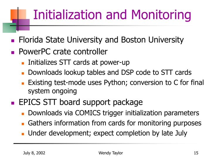 Initialization and Monitoring