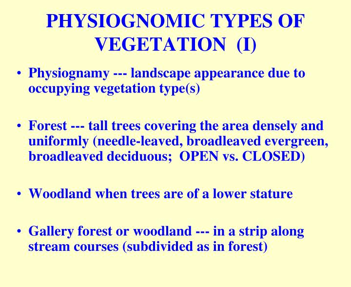 PHYSIOGNOMIC TYPES OF VEGETATION  (I)